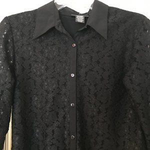 Black lace button down shirt see through sleeves